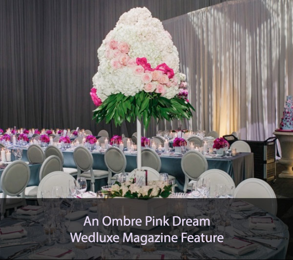 An Ombre Pink Dream Wedluxe magazine feature